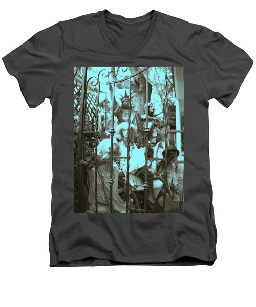America Land Of The Free Men's V-Neck T-Shirt by Susan Carella