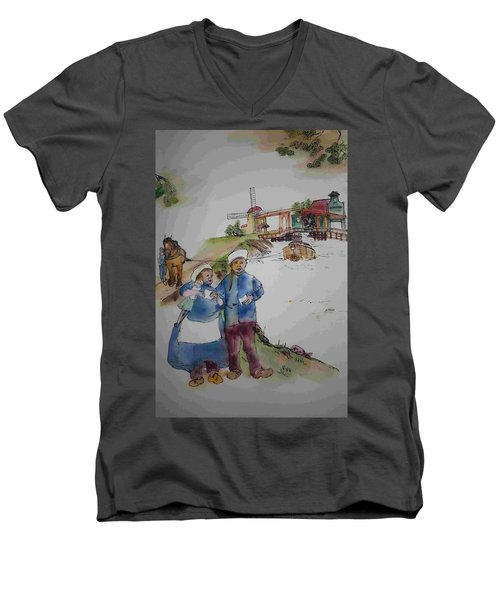 Land Of Windmill Clogs  And Tulips Album Men's V-Neck T-Shirt by Debbi Saccomanno Chan