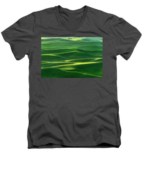 Land Waves Men's V-Neck T-Shirt by Ryan Manuel