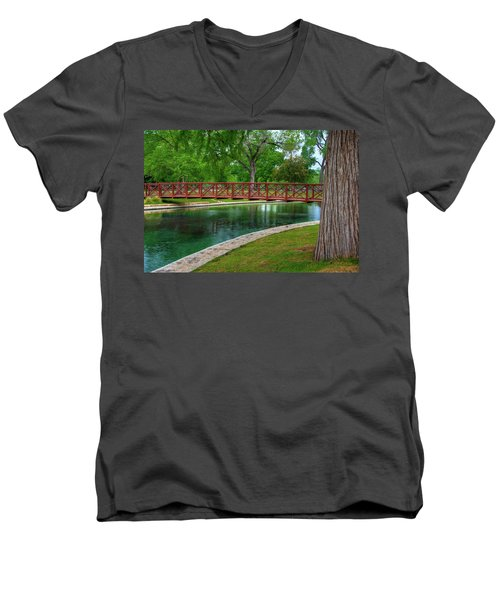 Landa Park Bridge Men's V-Neck T-Shirt by Kelly Wade