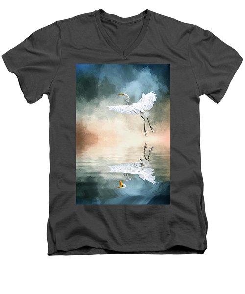 Landing At Dawn Men's V-Neck T-Shirt by Cyndy Doty