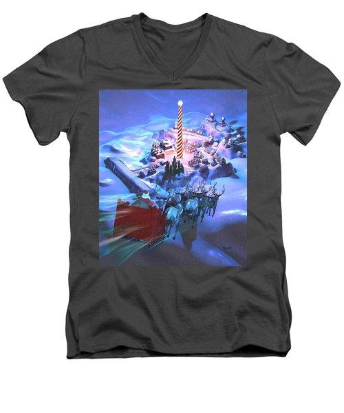 Landing At The North Pole Men's V-Neck T-Shirt by Dave Luebbert