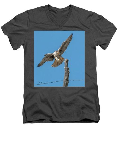 Landing Prairie Falcon Men's V-Neck T-Shirt
