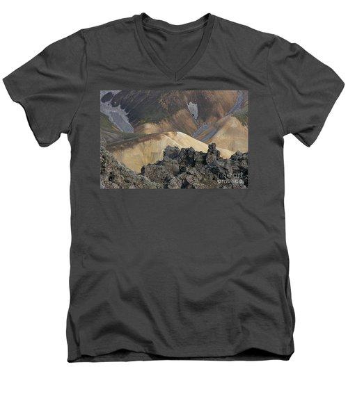 Landmannalaugar Iceland 3 Men's V-Neck T-Shirt by Rudi Prott