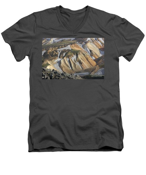 Men's V-Neck T-Shirt featuring the photograph Landmannalaugar Iceland by Rudi Prott