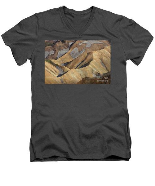 Men's V-Neck T-Shirt featuring the photograph Landmannalaugar Natural Art Iceland by Rudi Prott