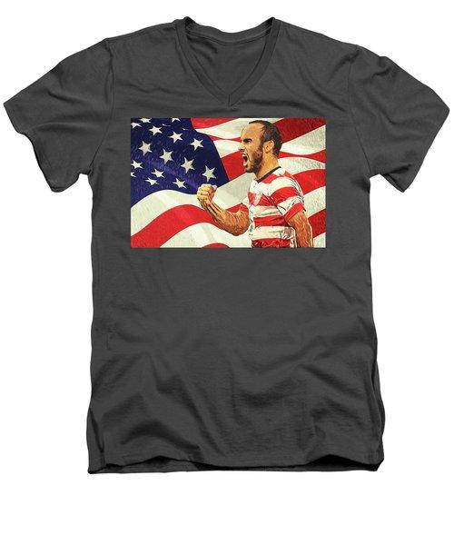 Landon Donovan Men's V-Neck T-Shirt by Taylan Apukovska