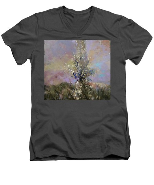 Men's V-Neck T-Shirt featuring the painting Landscape . I Was Lucky Today. by Anastasija Kraineva