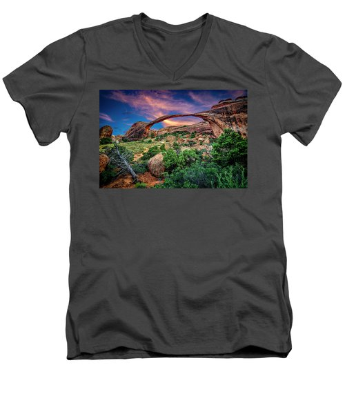 Landscape Arch At Sunset Men's V-Neck T-Shirt