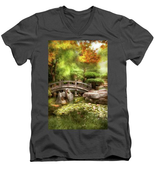 Men's V-Neck T-Shirt featuring the photograph Landscape - Simply Paradise by Mike Savad
