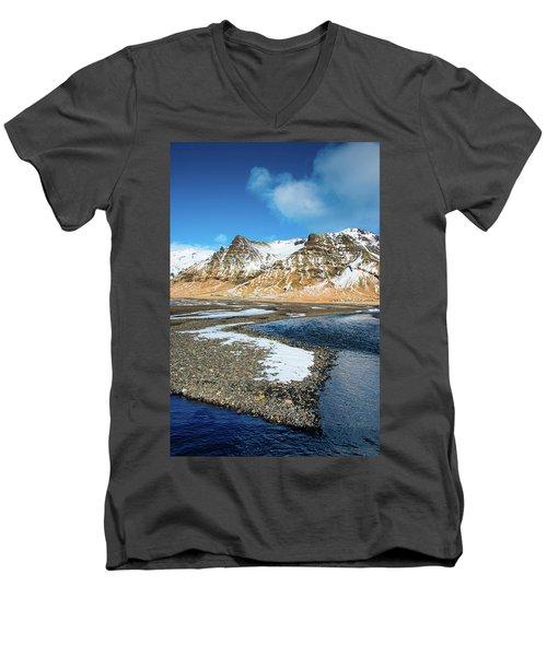 Men's V-Neck T-Shirt featuring the photograph Landscape Sudurland South Iceland by Matthias Hauser