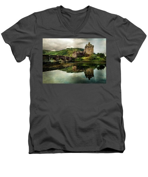 Landscape With An Old Castle Men's V-Neck T-Shirt