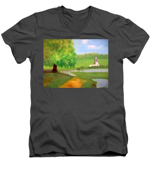 Landscape With Luxuriant Tree And Folly Men's V-Neck T-Shirt