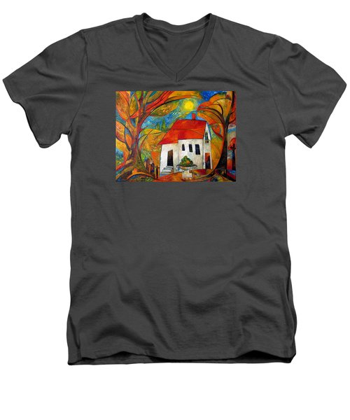 Landscape With The House Men's V-Neck T-Shirt by Mikhail Savchenko
