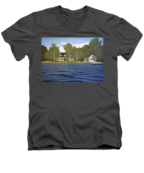 Men's V-Neck T-Shirt featuring the painting Langer Summer Home Lake Simcoe by Kenneth M Kirsch