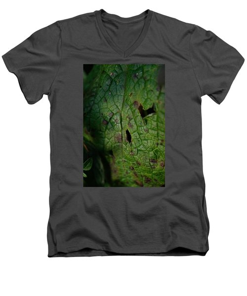 Men's V-Neck T-Shirt featuring the photograph Languid Leaf by Adria Trail