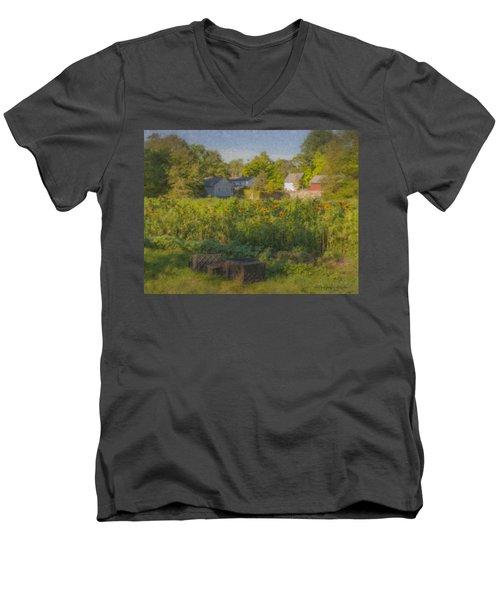 Langwater Farm Sunflowers And Barns Men's V-Neck T-Shirt