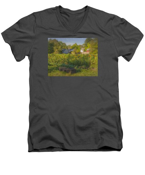 Langwater Farm Sunflowers And Barns Men's V-Neck T-Shirt