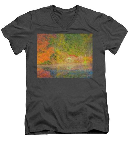 Langwater Pond Boathouse October 2015 Men's V-Neck T-Shirt