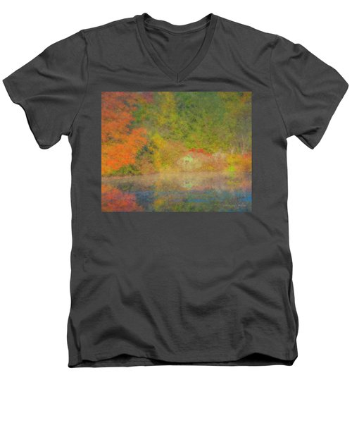 Langwater Pond Boathouse October 2015 Men's V-Neck T-Shirt