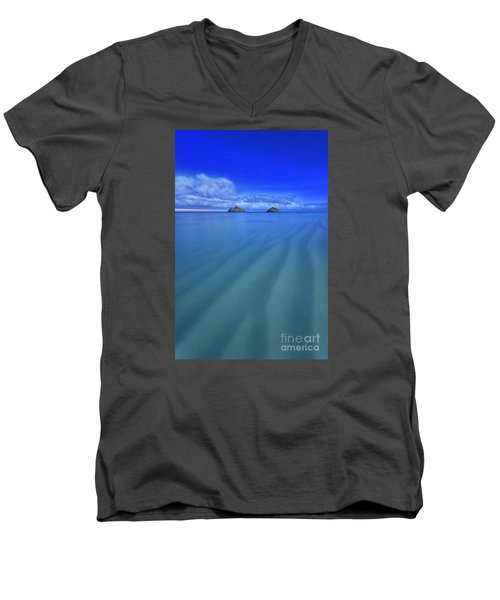 Men's V-Neck T-Shirt featuring the photograph Lanikai Beach Ripples In The Sand by Aloha Art