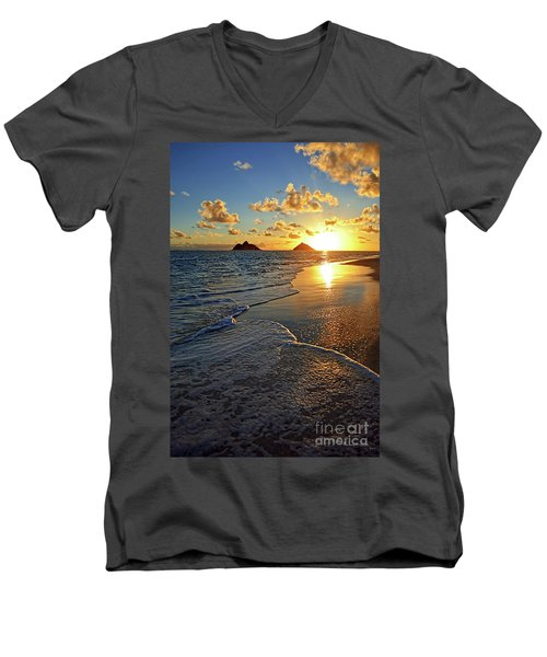 Men's V-Neck T-Shirt featuring the photograph Lanikai Beach Sunrise Foamy Waves by Aloha Art