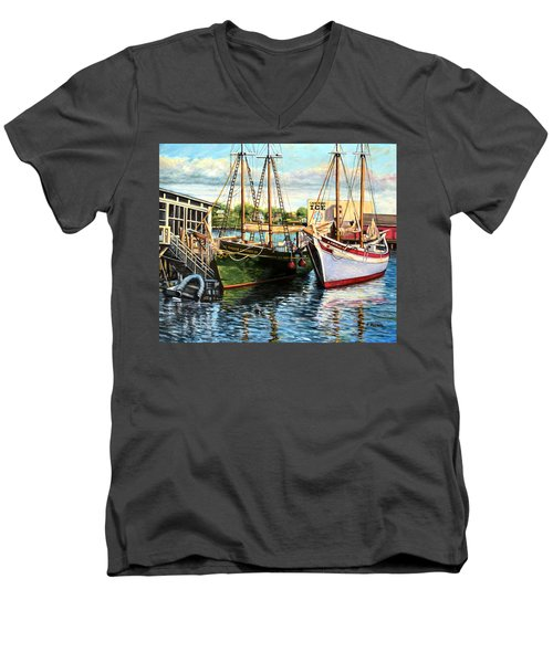 Lannon And Ardelle Gloucester Ma Men's V-Neck T-Shirt by Eileen Patten Oliver