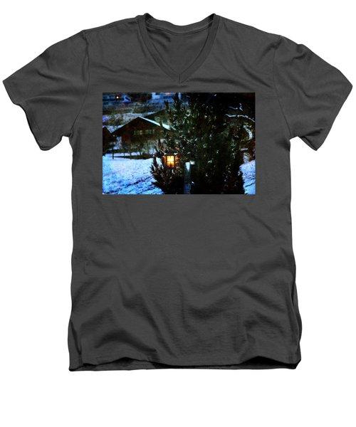 Lantern In The Woods Men's V-Neck T-Shirt by Vittorio Chiampan
