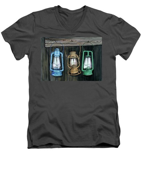 Men's V-Neck T-Shirt featuring the painting Lanterns by Ferrel Cordle