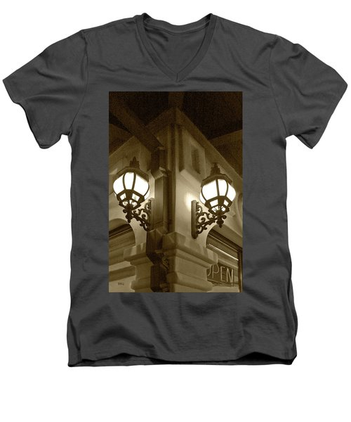 Lanterns - Night In The City - In Sepia Men's V-Neck T-Shirt by Ben and Raisa Gertsberg