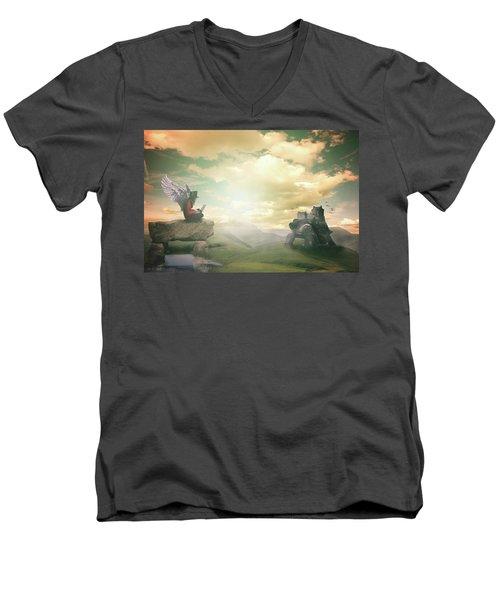 Men's V-Neck T-Shirt featuring the digital art Laptop Dreams by Nathan Wright