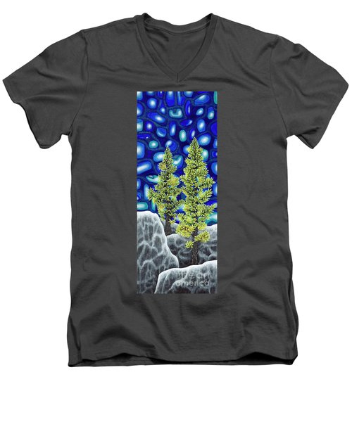 Men's V-Neck T-Shirt featuring the painting Larch Dreams 1 by Rebecca Parker