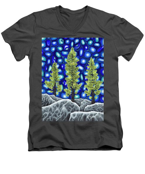 Men's V-Neck T-Shirt featuring the painting Larch Dreams 2 by Rebecca Parker