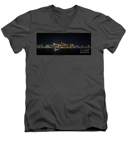 Large Panoramic Of Downtown Boston At Night Men's V-Neck T-Shirt