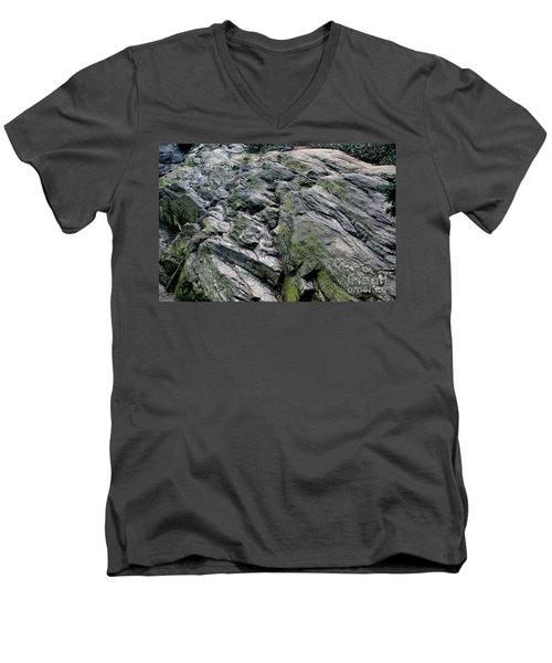 Large Rock At Central Park Men's V-Neck T-Shirt by Sandy Moulder