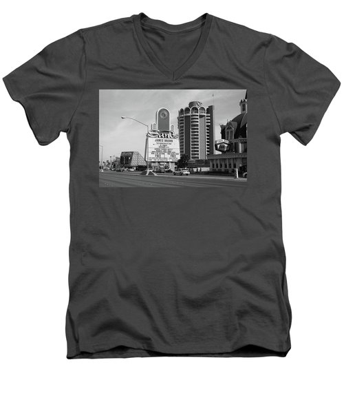 Men's V-Neck T-Shirt featuring the photograph Las Vegas 1994 #1 Bw by Frank Romeo