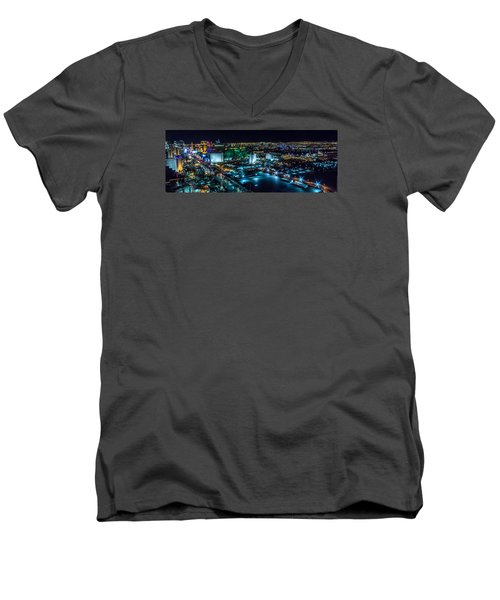 Men's V-Neck T-Shirt featuring the photograph Las Vegas Looking North by Michael Rogers