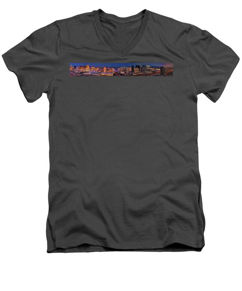 Men's V-Neck T-Shirt featuring the photograph Las Vegas Panoramic Aerial View by Susan Candelario