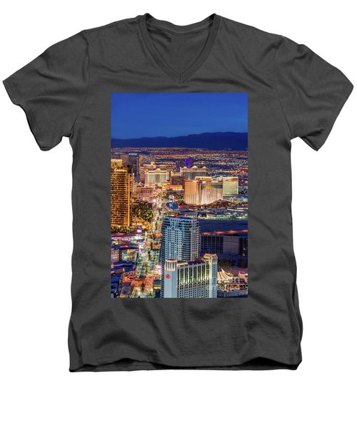 Men's V-Neck T-Shirt featuring the photograph Las Vegas Strip From The Stratosphere Tower by Aloha Art