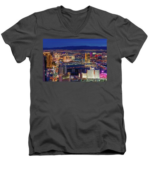 Men's V-Neck T-Shirt featuring the photograph Las Vegas Strip From The Stratosphere Wide by Aloha Art