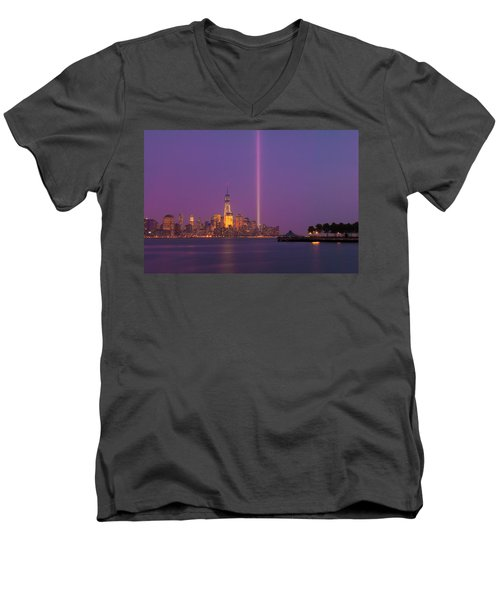 Laser Twin Towers In New York City Men's V-Neck T-Shirt by Ranjay Mitra