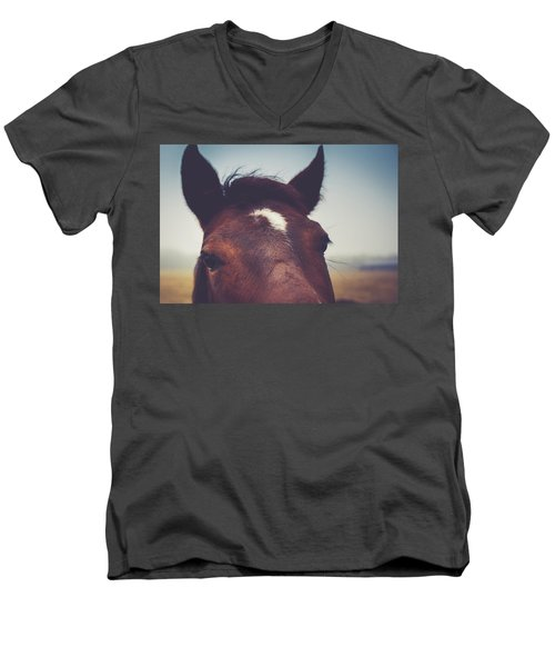 Men's V-Neck T-Shirt featuring the photograph Lashes by Shane Holsclaw