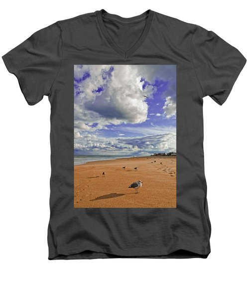 Men's V-Neck T-Shirt featuring the photograph Last Day At The Beach by Jim Moore