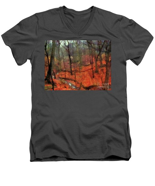 Last Days Of Autumn Men's V-Neck T-Shirt by Cedric Hampton