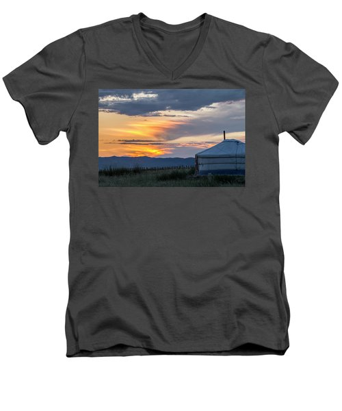 Men's V-Neck T-Shirt featuring the photograph Last Golden Light, Elsen Tasarkhai, 2016 by Hitendra SINKAR