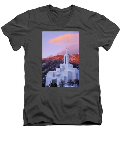 Last Light At Draper Temple Men's V-Neck T-Shirt
