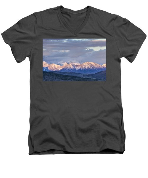 Last Light On Winter Peaks Men's V-Neck T-Shirt
