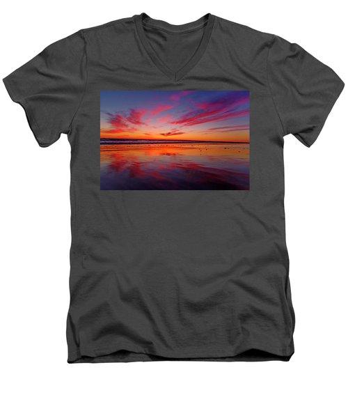 Last Light Topsail Beach Men's V-Neck T-Shirt by Betsy Knapp