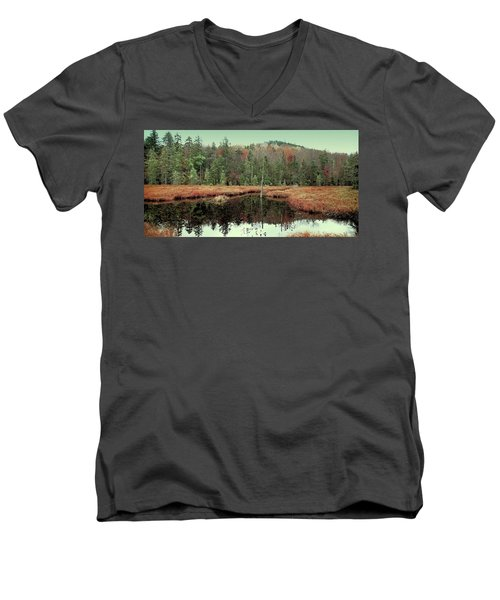 Men's V-Neck T-Shirt featuring the photograph Last Of Autumn On Fly Pond by David Patterson