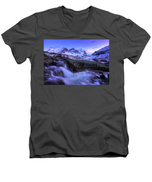 Men's V-Neck T-Shirt featuring the photograph Last Rays On Andromeda by Dan Jurak